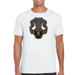 Man T-shirt Dog - White M