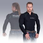MADMAX Compression Long Sleeve Top with zip Blue hosszú ujjú felső cipzárral
