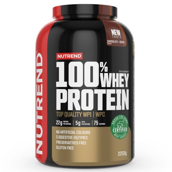 Nutrend 100% Whey Protein 2250g  - Chocolate - Cocoa + AJÁNDÉK 3 db 100% Whey Protein 30g + Shaker